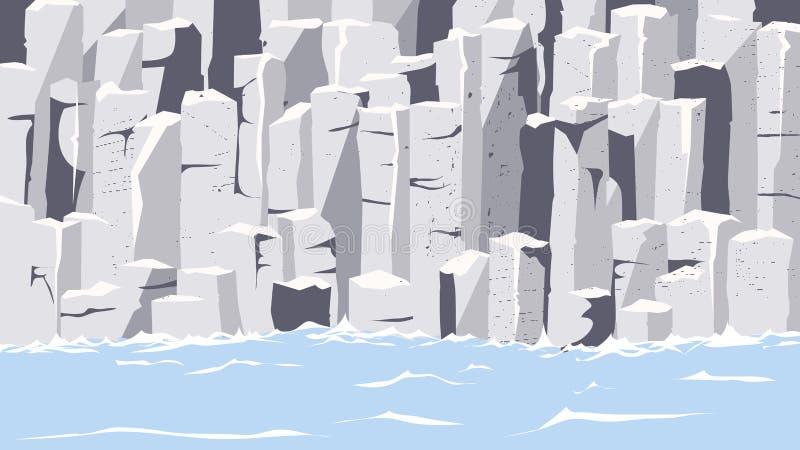 Rocas del grafito en la costa ilustración del vector