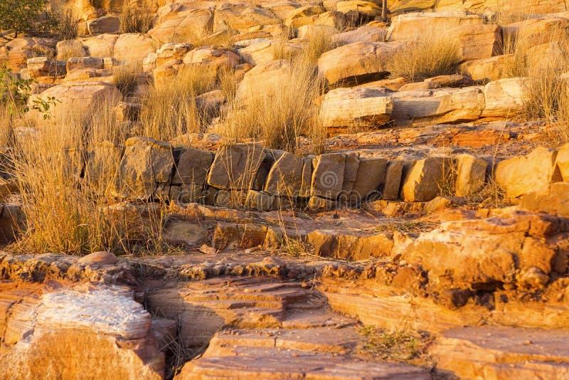 Rocas e hierba de oro de la piedra arenisca imágenes de archivo libres de regalías