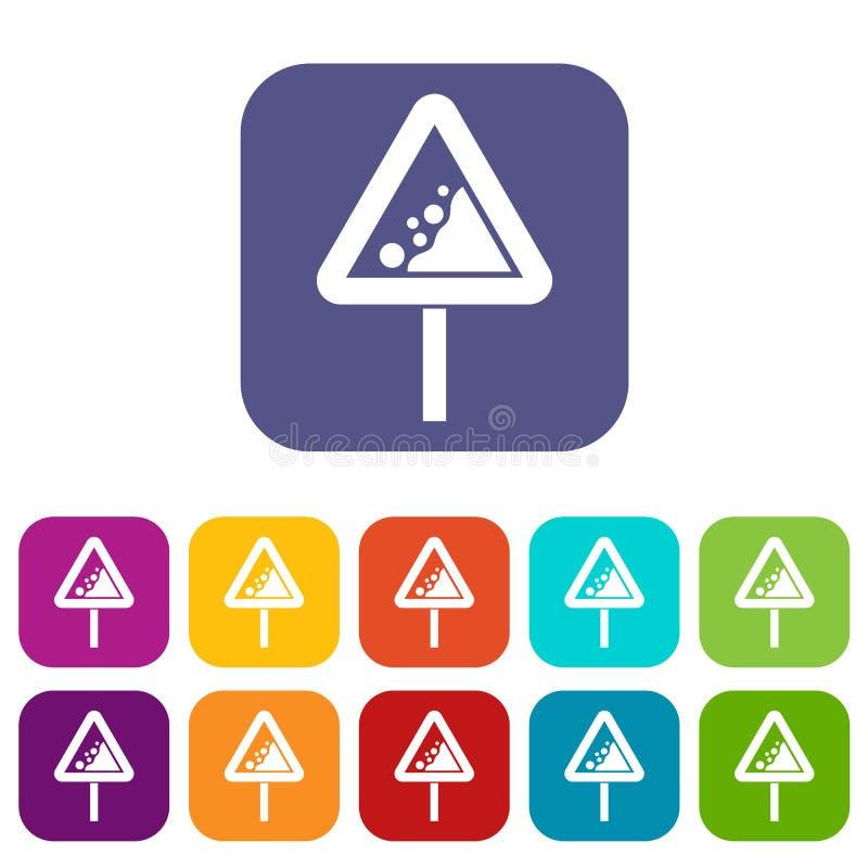 Rocas que caen que advierten los iconos de la señal de tráfico fijados stock de ilustración