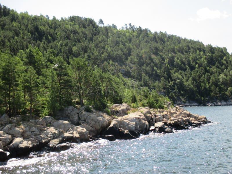 Rocas y árboles a lo largo de la costa del Oslofjord, Noruega fotos de archivo
