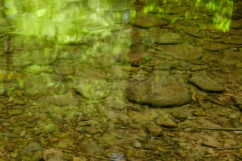 Rocas y cantos rodados que muestran en un arroyo bajo con los árboles verdes r imagen de archivo