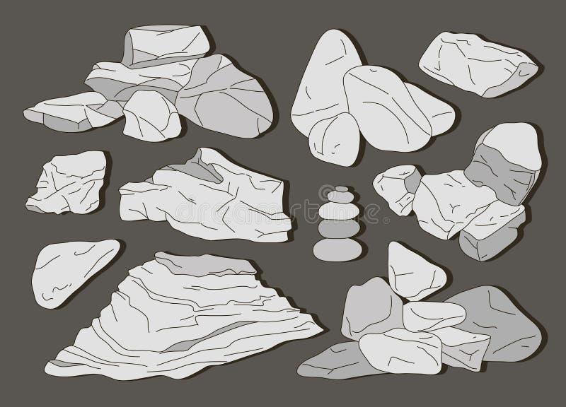Rocas y elementos de las piedras stock de ilustración