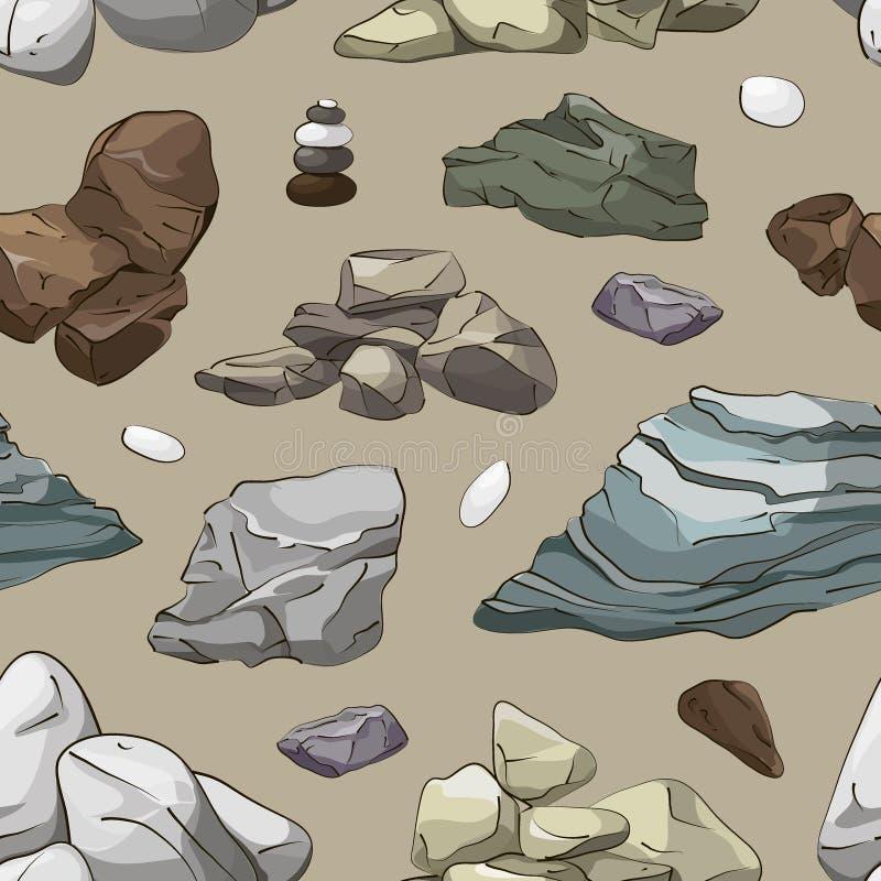 Rocas y modelo de los elementos de las piedras ilustración del vector