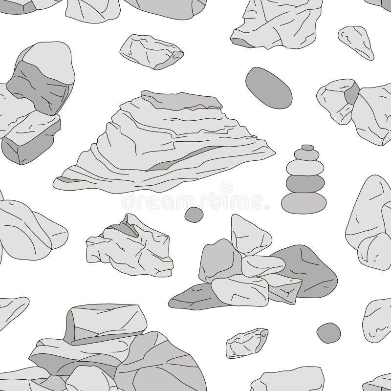 Rocas y modelo de los elementos de las piedras stock de ilustración