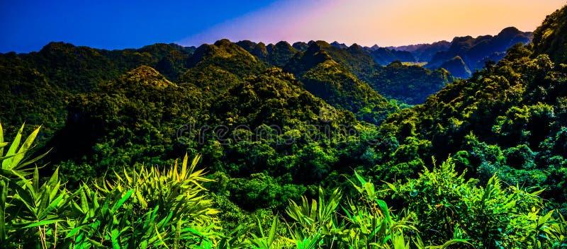 Rocas y montañas de Cat Ba Island en Vietnam Paisaje panorámico Vietnam fotografía de archivo libre de regalías