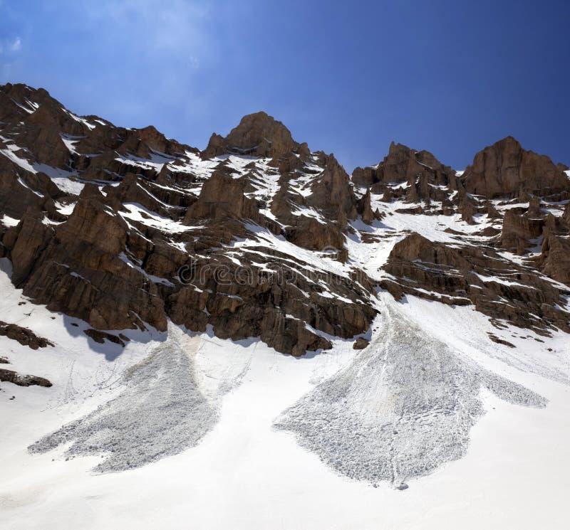 Rocas y rastro Nevado de la avalancha en primavera imagen de archivo