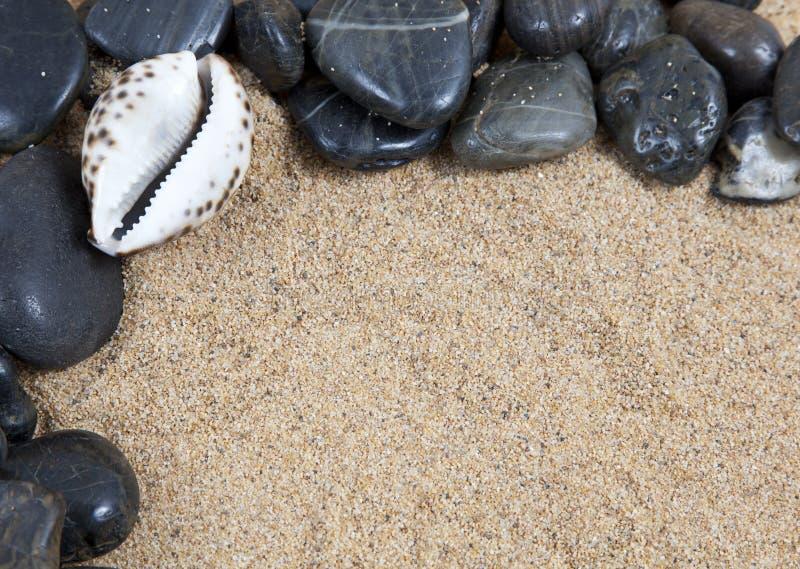 Rocas y shelles del río del balneario del zen encendido fotos de archivo