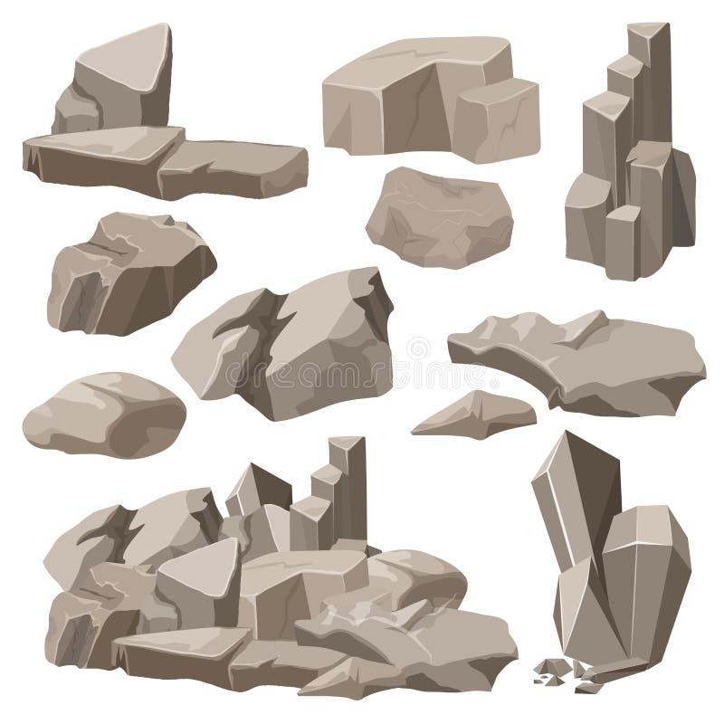 Rocas y sistema de la colección de los elementos de las piedras Ilustración del vector ilustración del vector