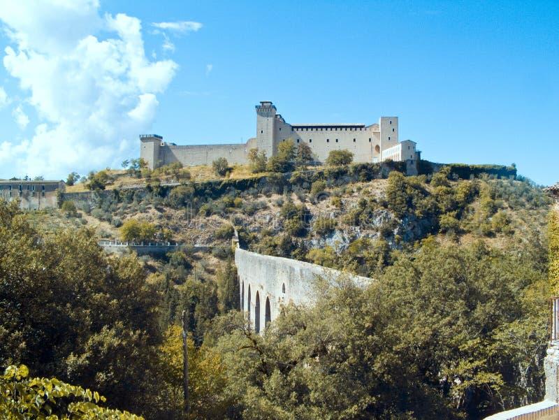 Rocca Albornoziana Spoleto Úmbria fotografia de stock royalty free