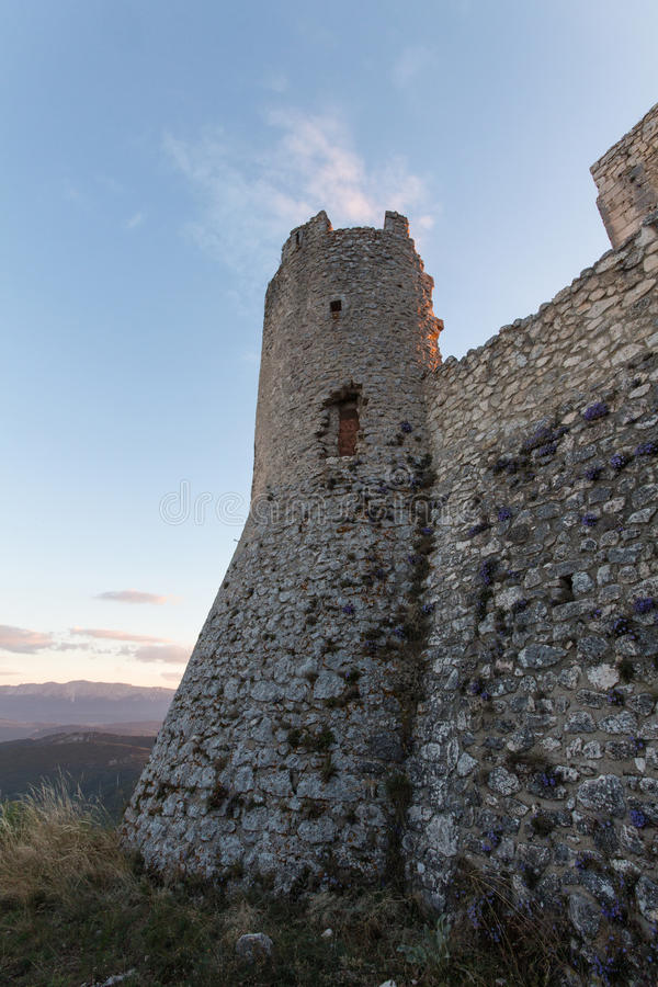 Rocca Calascio, Lady Hawk Fortress, in Abruzzo, L'Aquila, Italy royalty free stock photo