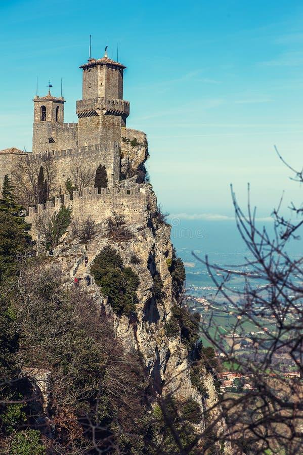 Rocca dellaGuaita fästning i San Marino fotografering för bildbyråer