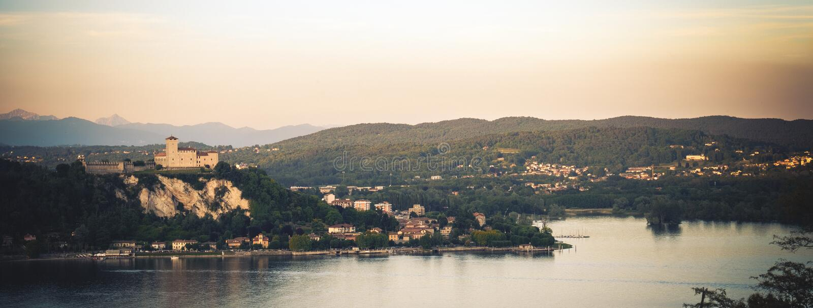 Rocca di Angera castle aerial Lake Maggiore at sunset Lombardy region Italy.  royalty free stock images