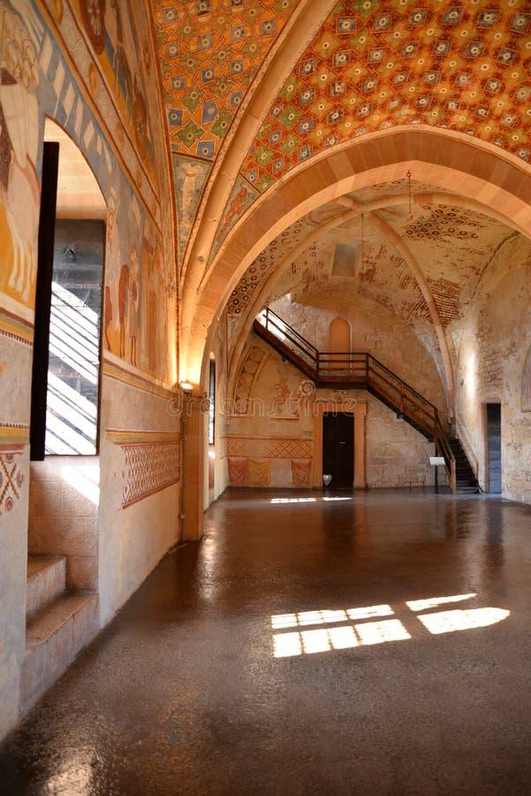 Rocca di Angera, medieval main hall interior view. Italy stock photos