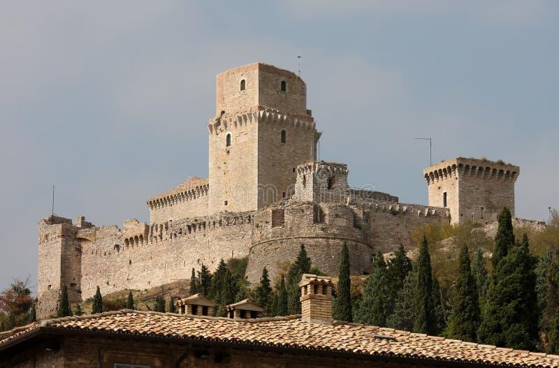 Rocca Maggiore, middeleeuws kasteel, Assisi royalty-vrije stock fotografie