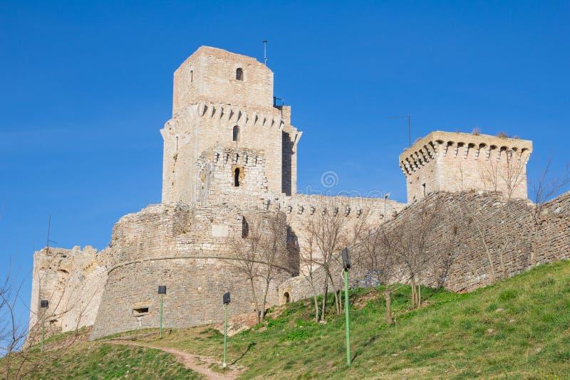 Rocca Maggiore, middeleeuws kasteel, Assisi stock afbeelding