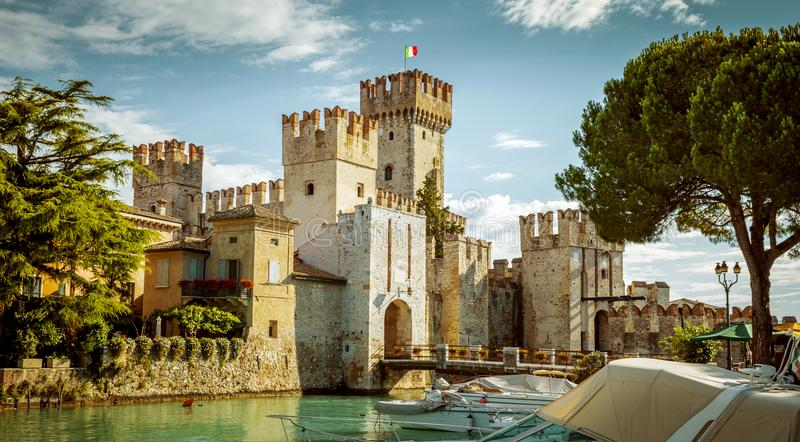 Rocca Scaligera castle in Sirmione town near Garda Lake stock images