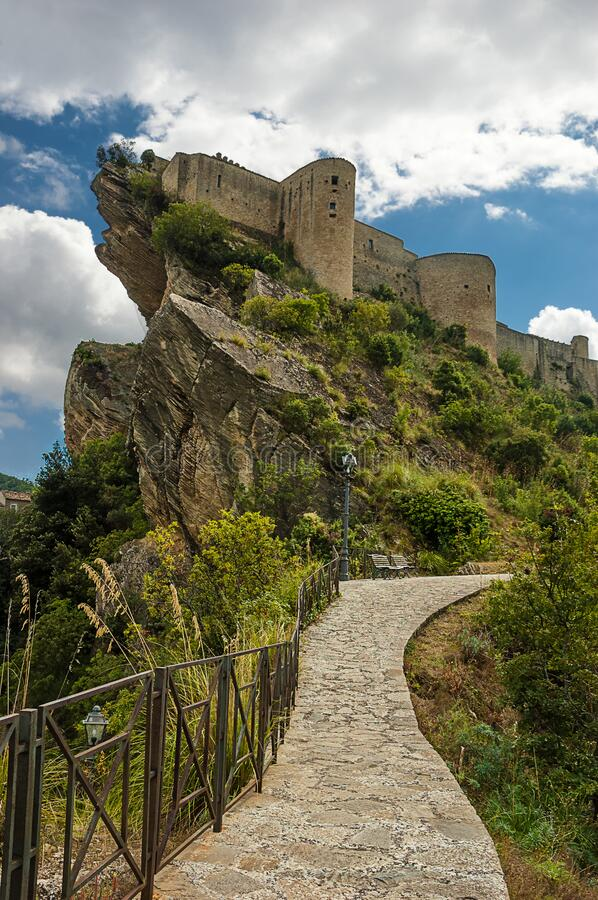 The Roccascalegna castle is located in the town of the same name, in the province of Chieti. Placed on top of a rocky ledge, in a dominant position over the stock photography