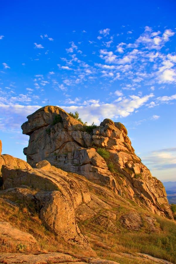 Rocce al tramonto in Macedonia fotografia stock