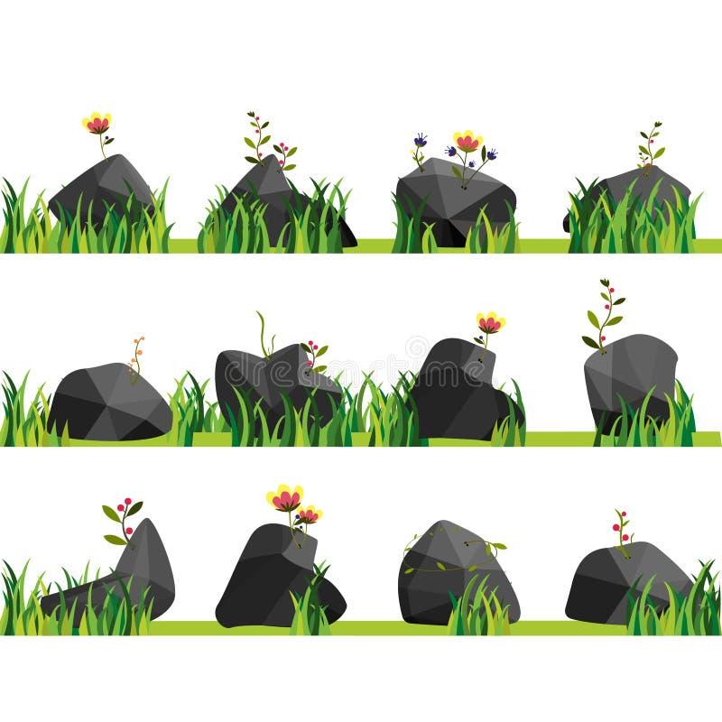 Rocce con erba, le pietre ed il verde Roccia della natura, illustrazione all'aperto, pianta dell'ambiente illustrazione di stock