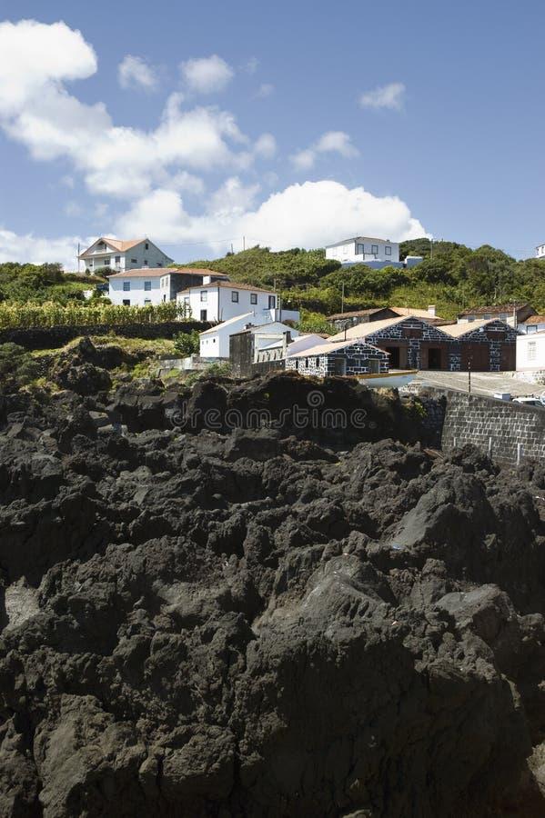 Rocce del basalto, isola di Pico, Azzorre fotografia stock