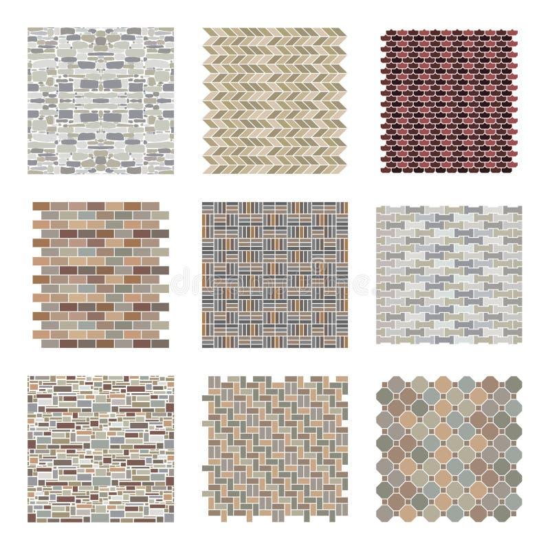 Rocce del paesaggio ed architettoniche e modelli dei mattoni determinati royalty illustrazione gratis
