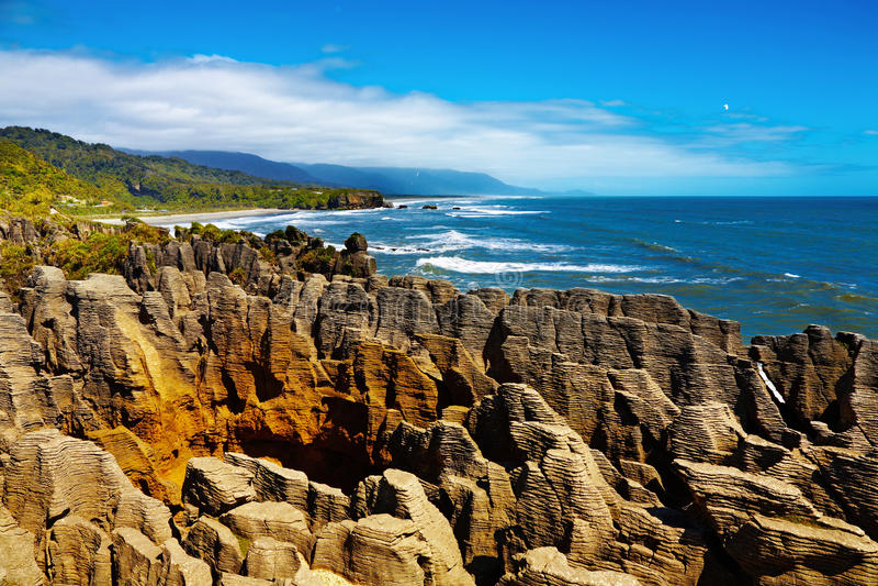 Rocce del pancake di Punakaiki, Nuova Zelanda fotografie stock