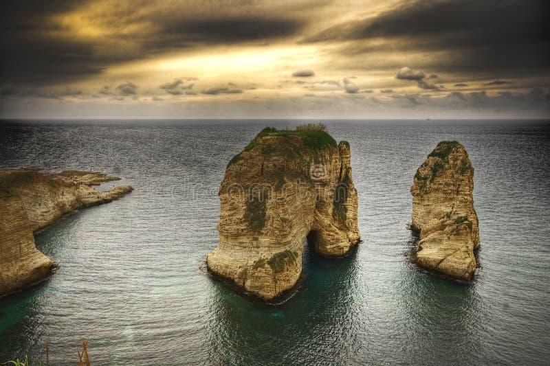 Rocce del piccione, Beirut Libano fotografia stock