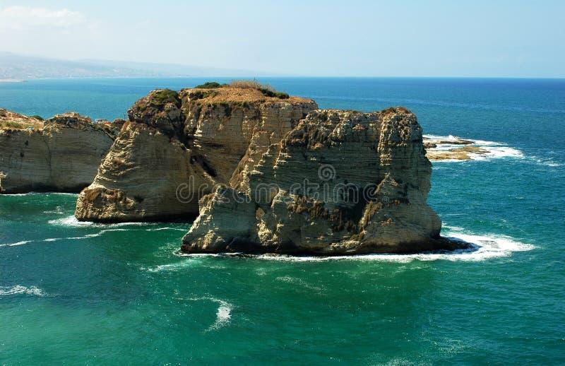 Rocce del piccione, Beirut Libano fotografia stock libera da diritti