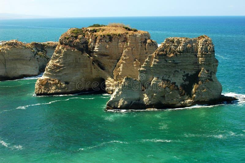 Rocce del piccione, Beirut Libano immagine stock