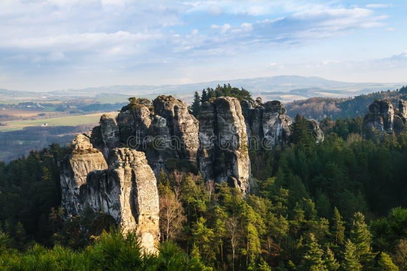 Rocce dell'arenaria nel paradiso della Boemia fotografie stock
