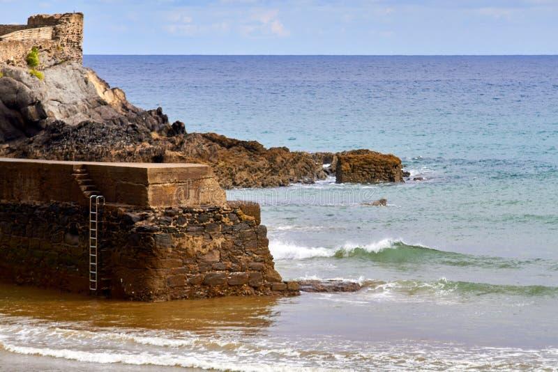 Rocce della linea costiera a paese basco fotografie stock