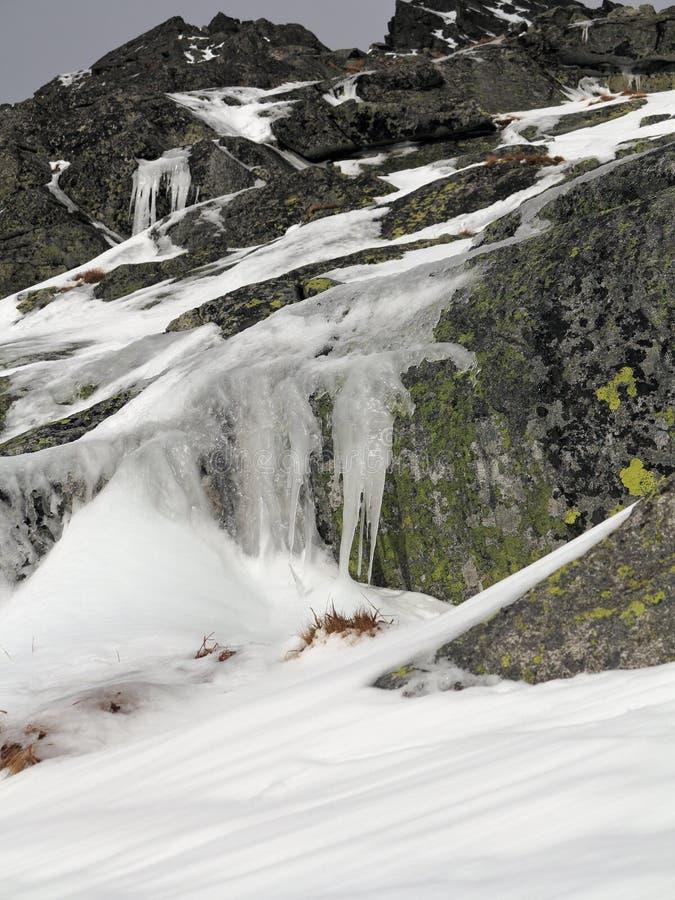Rocce ghiacciate della montagna Rocce coperte di rivestimento verde Ghiaccioli che pendono dalle rocce fotografie stock libere da diritti