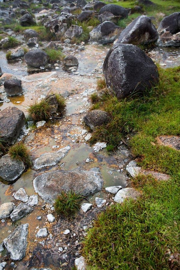 Rocce intorno alle sorgenti di acqua calda immagini stock