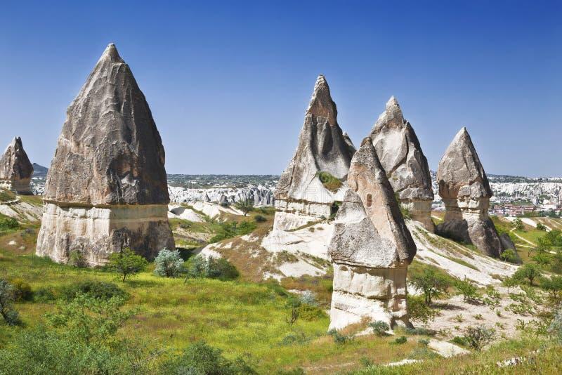 Rocce in Rose Valley del parco nazionale di Goreme nell'Anatolia centrale, fotografia stock libera da diritti
