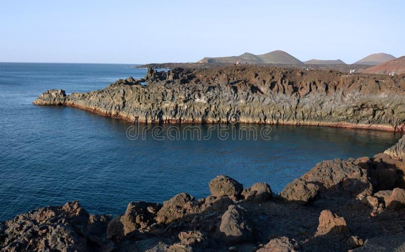Rocce vulcaniche sul bordo del sud di Lanzarote immagini stock libere da diritti