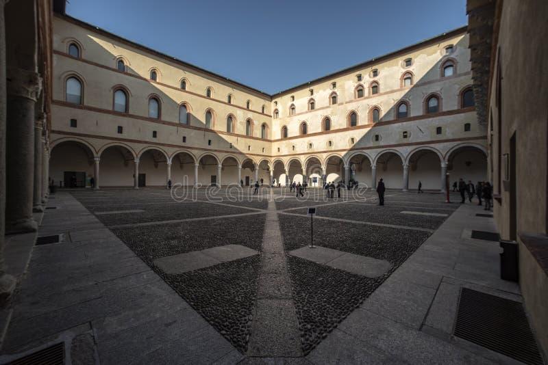 Rocchetta庭院, Castello Sforzesco,米兰 免版税库存照片