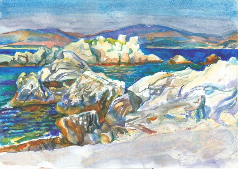 Roccia bianca sulla costa illustrazione di stock