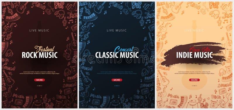 Roccia, classico, festival di musica indipendente Aria aperta Insieme del modello di progettazione delle alette di filatoio con l illustrazione vettoriale