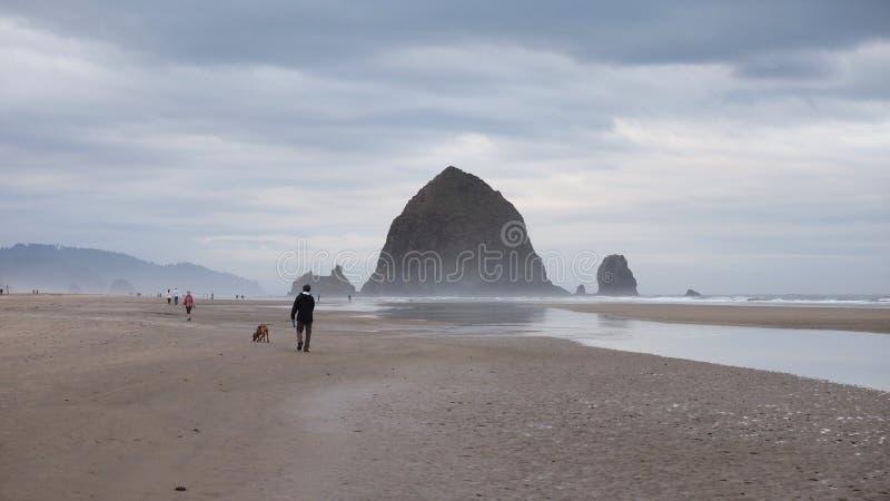 Roccia del mucchio di fieno sulla spiaggia del cannone, Oregon immagini stock