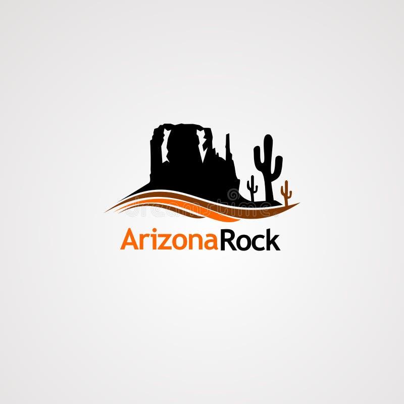 Roccia dell'Arizona con il vettore di logo del cactus dell'albero e di concetto dell'onda, l'icona, l'elemento ed il modello per  illustrazione di stock