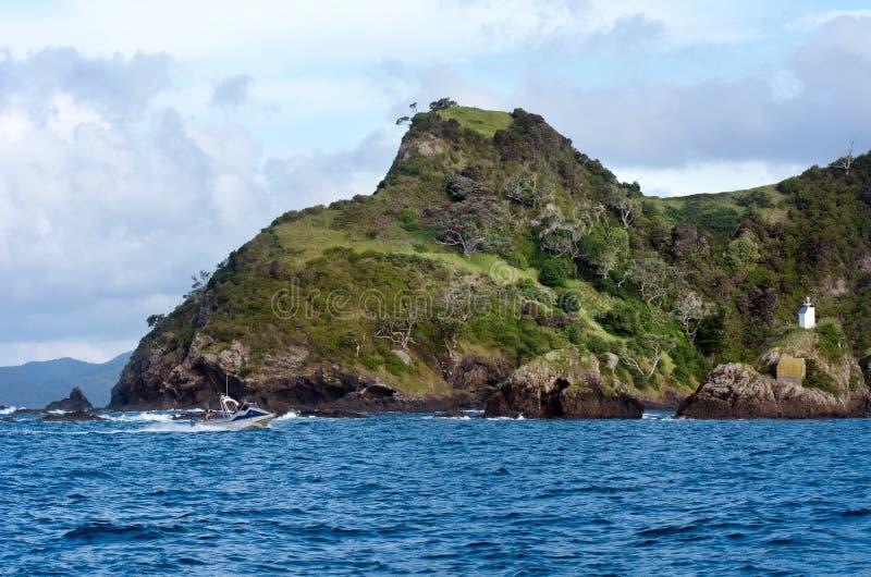 Roccia di Fraser alla baia delle isole Nuova Zelanda fotografia stock