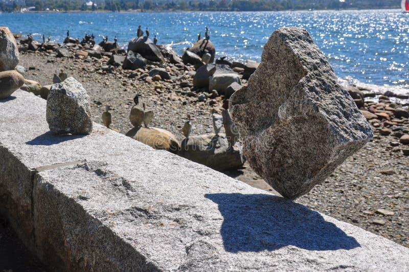 Roccia incredibile che equilibra, Vancouver, Canada fotografie stock libere da diritti