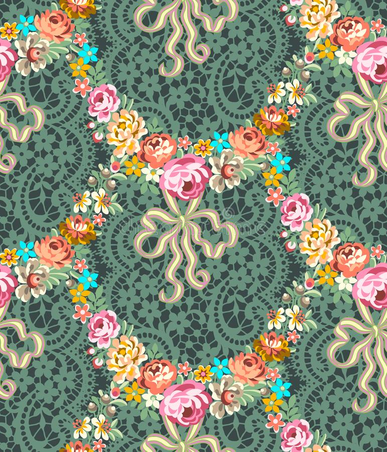 Roccoco-Rosen Garland Lace Seamless Pattern lizenzfreie abbildung