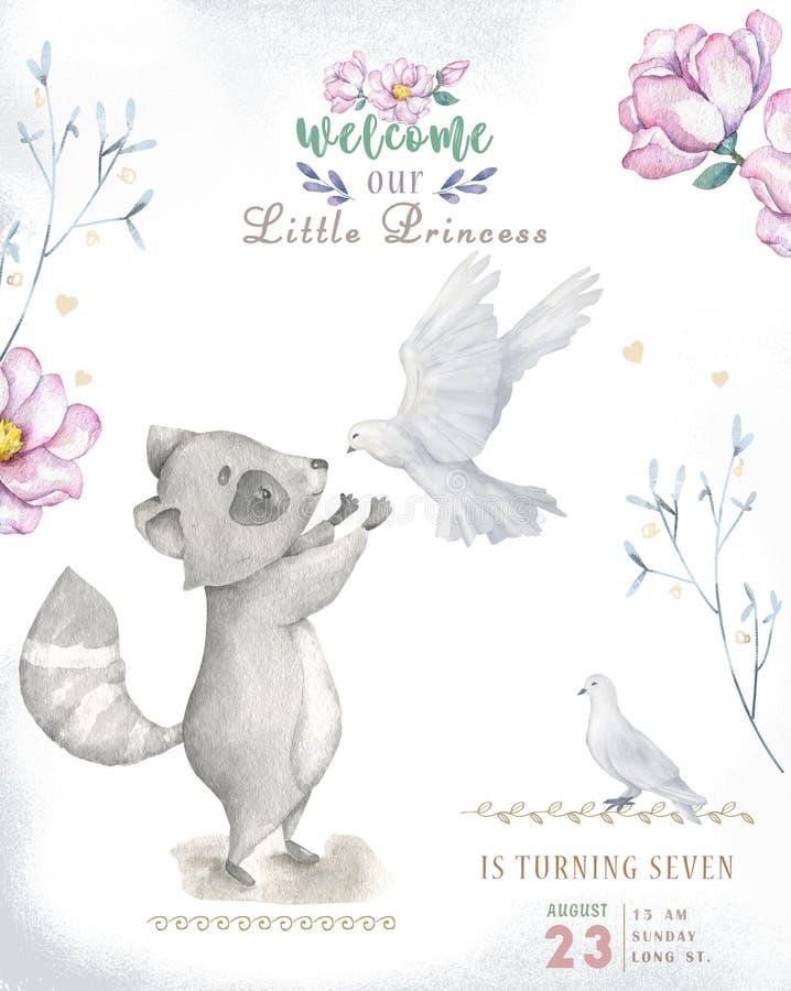 Roccoon boêmio dos desenhos animados do bebê da aquarela bonito e berçário do animal do esquilo para o jardim de infância, dos ce ilustração royalty free