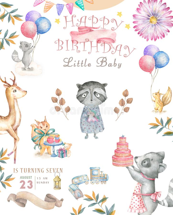 Roccoon bo?mio dos desenhos animados do beb? da aquarela bonito e animal saboroso do bolo para o jardim de inf?ncia, partido da f ilustração do vetor