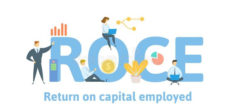 ROCE, Kapitalerträge eingesetzt Konzept mit Leuten, Buchstaben und Ikonen Flache Vektorillustration Lokalisiert auf Wei? stock abbildung