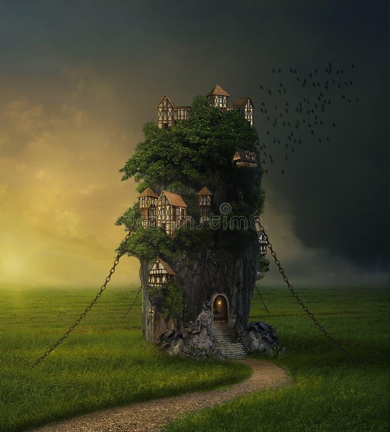 Rocha da fantasia com as casas na pradaria ilustração royalty free