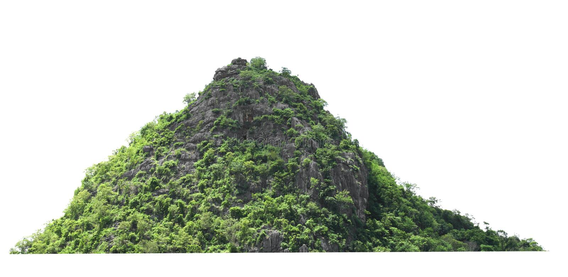 rocha da montanha com a floresta no isolado de Tailândia no fundo branco fotografia de stock royalty free