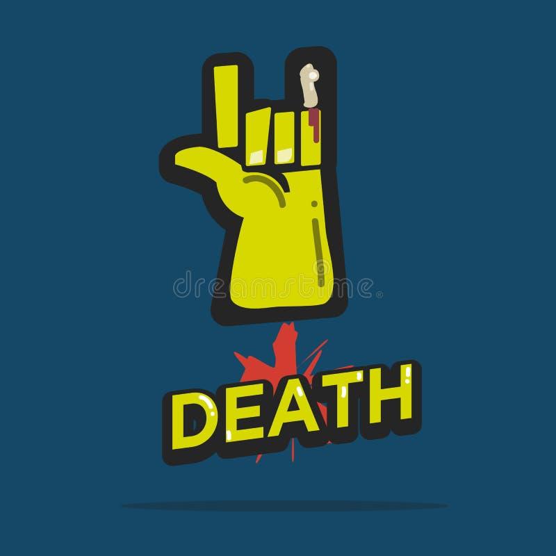 Rocha da morte com rotulação zombi conceitos do Dia das Bruxas - ilustração stock