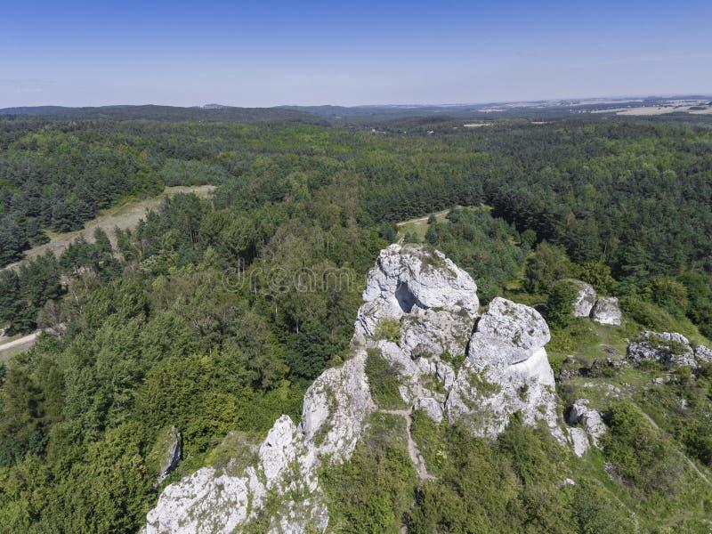 Rocha da pedra calcária em Jura Krakowsko-Czestochowska poland Vista para fotos de stock